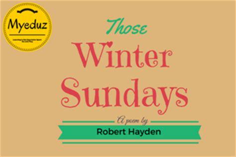 Literary analysis those winter sundays robert hayden